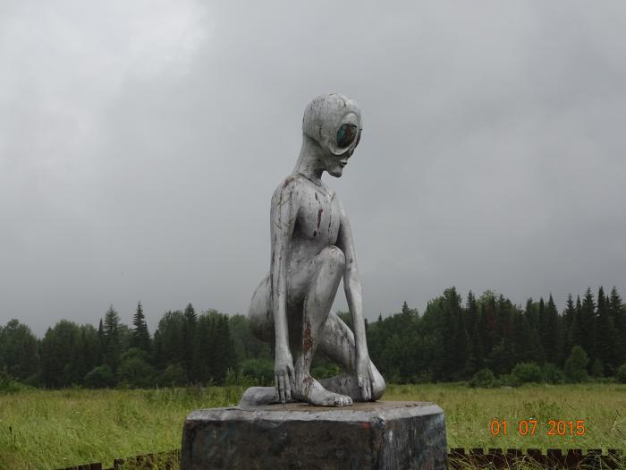 Monument to the alien Alyosha